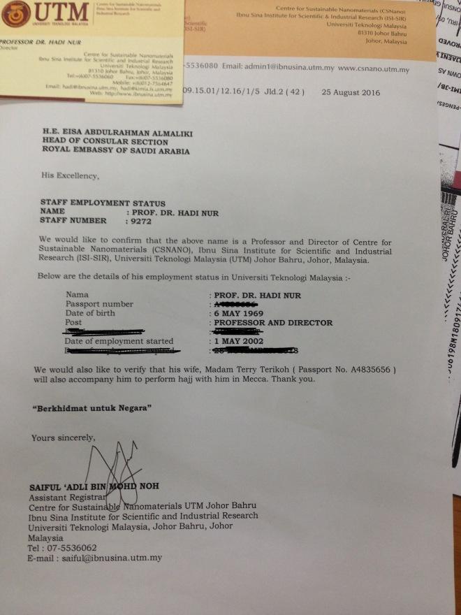 Surat keterangan dari UTM