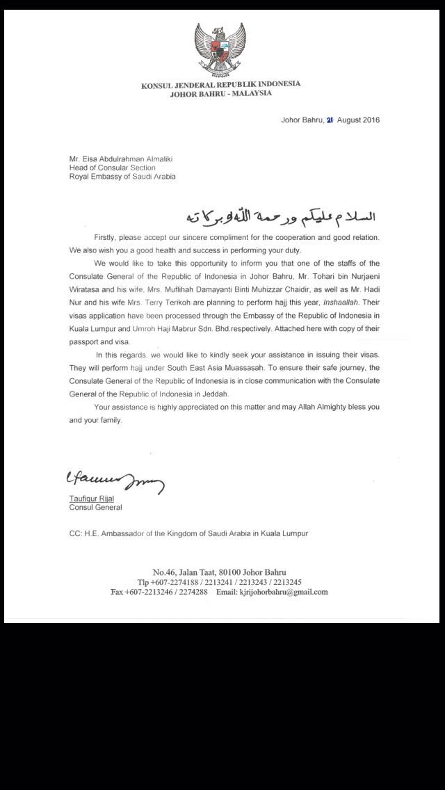 Surat garansi dari KJRI Johor Bahru
