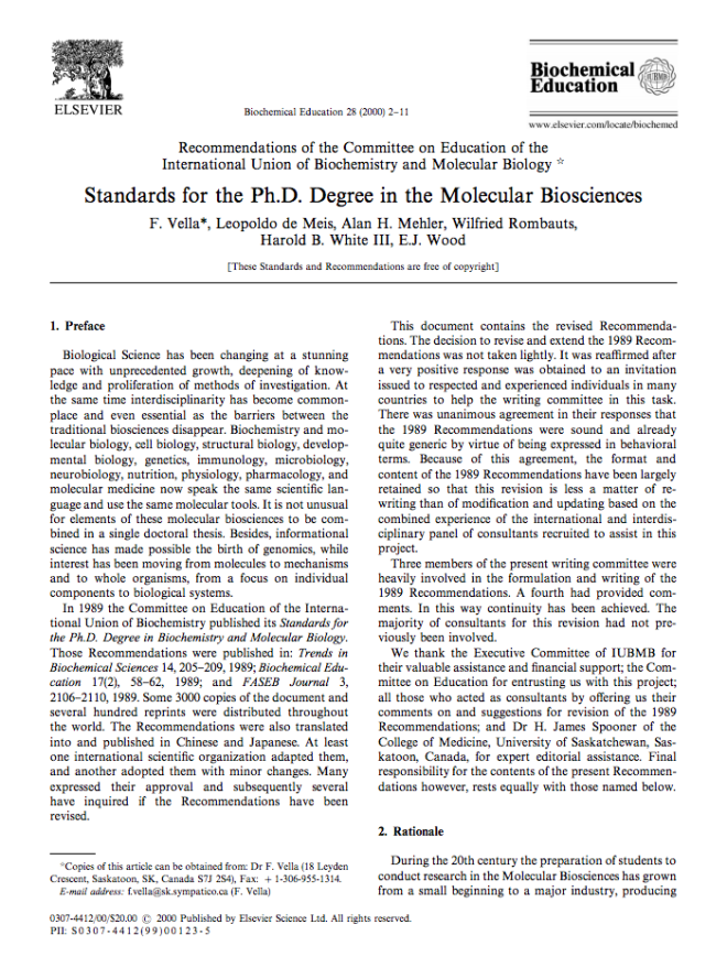 PhD standard
